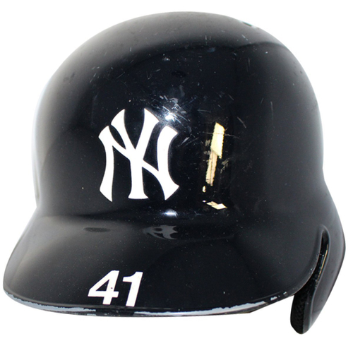 Photo of Miguel Andujar New York Yankees 2018 Game Used #41 Home Batting Helmet (9/22/2018, 10/3/2018, 10/9/2018)