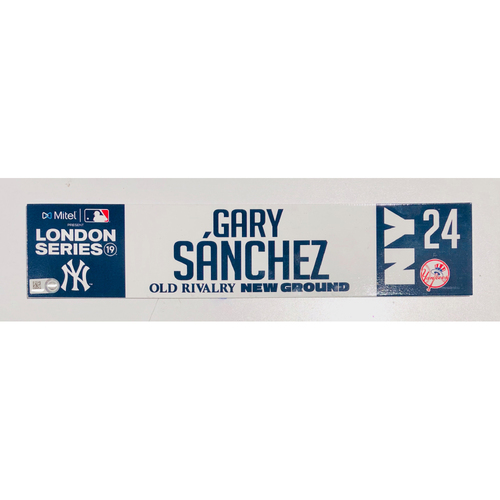 2019 London Series - Game Used Locker Tag - Gary Sanchez, New York Yankees vs Boston Red Sox - 6/30/2019