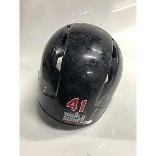 Carlos Santana Game Used Batting Helmet, 2016 World Series Game 7