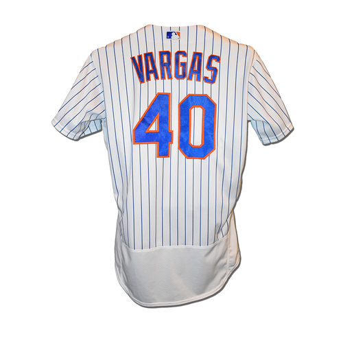 Photo of Jason Vargas #44 - Team Issued White Pinstripe Jersey