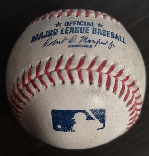 Photo of Authenticated Game Used Baseball: Ground Out by Bo Bichette against Domingo German (Aug 8, 19 vs NYY). Bottom 1. First Career Home at bat for Bo Bichette.
