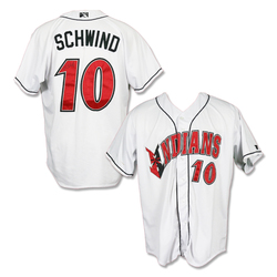 Photo of #10 Jon Schwind Autographed Game Worn Home White Jersey