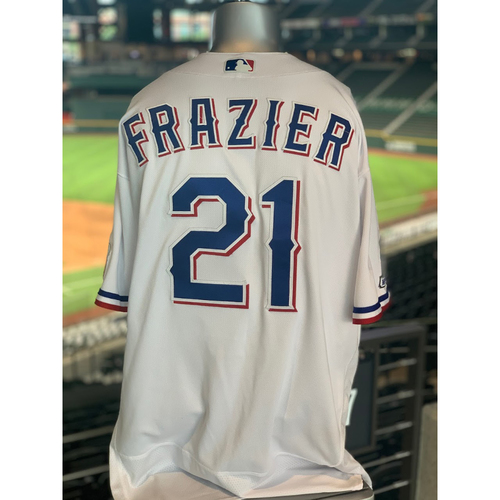 Photo of Todd Frazier Game- Used White Jersey -- Worn 7/29/20 - First Home Run as a Member of The Texas Rangers (M. Bumgarner)