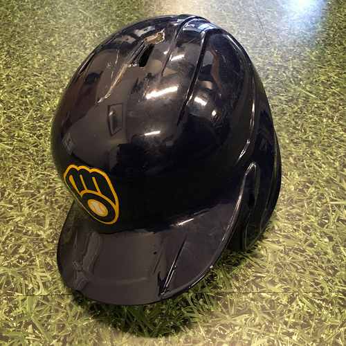 Photo of Luis Urias 04/12/21 Game-Used Batting Helmet - 1-2, 3-Run Double