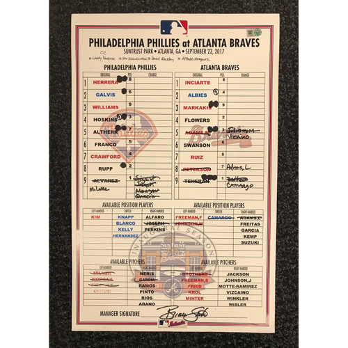 Photo of Game-Used Lineup Card - 9/23/17 - Phillies at Braves - Today Only $35!