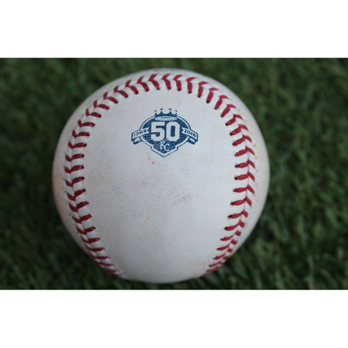 Photo of Game-Used Baseball: Rajai Davis 1,097th Career Hit (CLE at KC - 7/3/18)