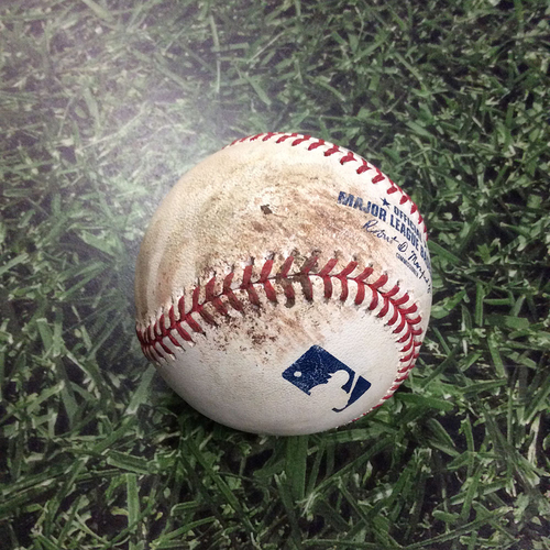Photo of Game-Used Baseball WSH@MIL 07/23/18 - Jhoulys Chacin - Juan Soto: Strike