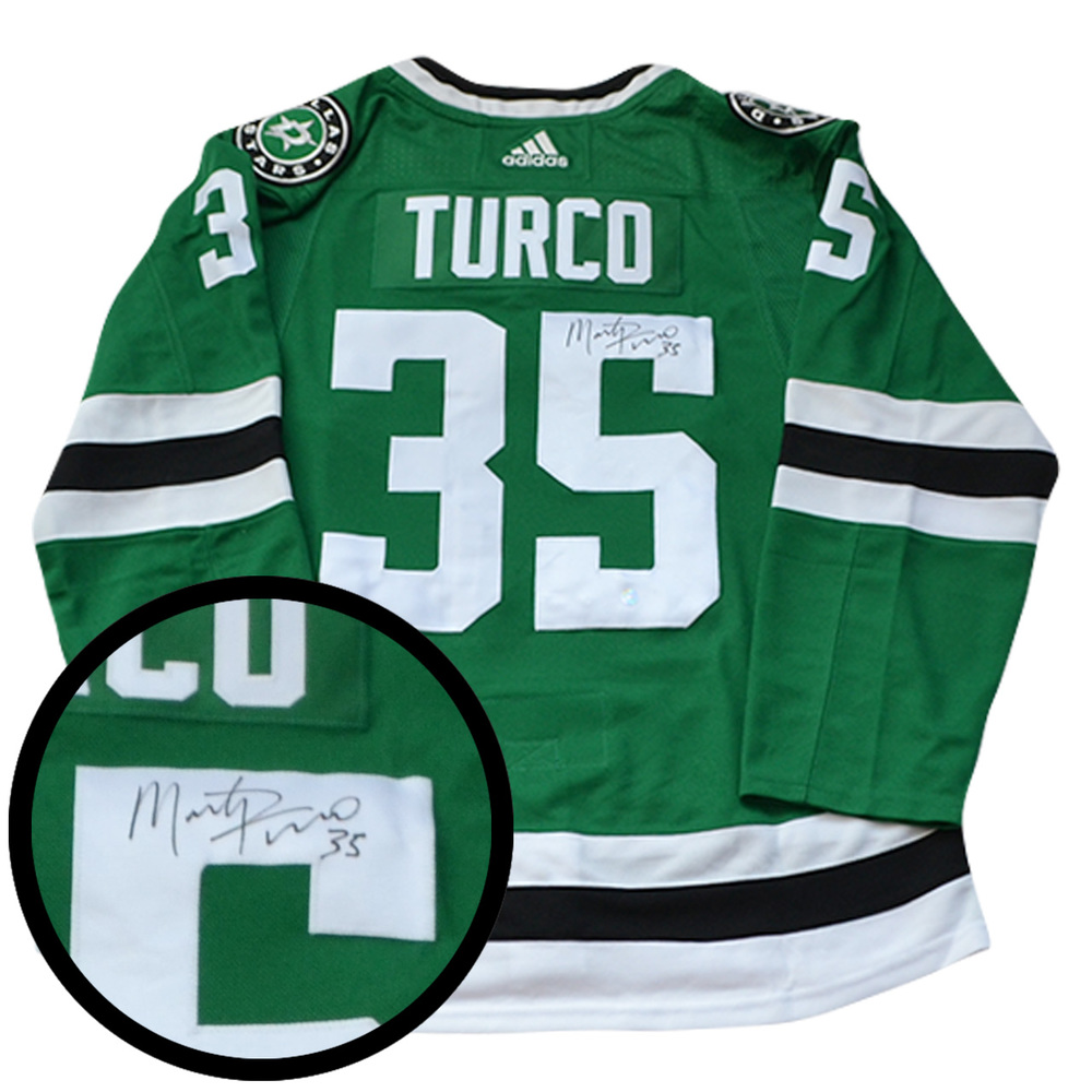 Marty Turco Signed Jersey Stars Pro Green 2017-2019 Adidas