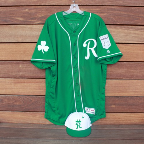 Photo of Team-Issued Saint Patrick's Day Jersey and Game-Used Cap: Cheslor Cuthbert (KC @ SF - 3/17/19 - Jersey Size 48 - Cap Size 7 3/8)