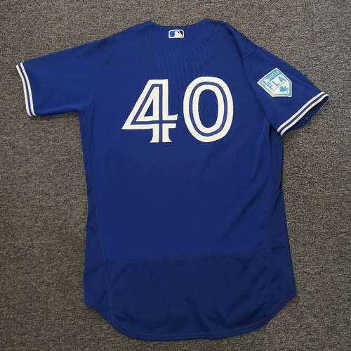 Photo of Authenticated Game Used 2019 Spring Training Jersey - #40 Pete Walker (Mar 25). Size 46