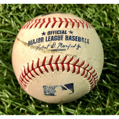 Photo of Game Used Baseball: Shohei Ohtani Cycle Game - Wilfredo Tovar strikeout, Luis Rengifo strikeout and David Fletcher foul ball off Chaz Roe - June 13, 2019 v LAA