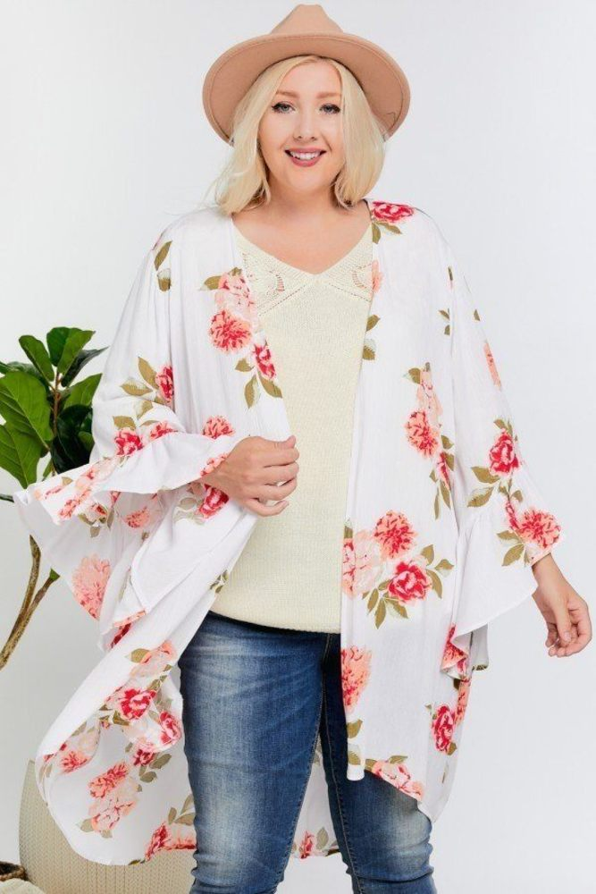 Photo of Serenity Floral Print Ruffle Detailed Draped Longline Maxi Kimono Cardigan
