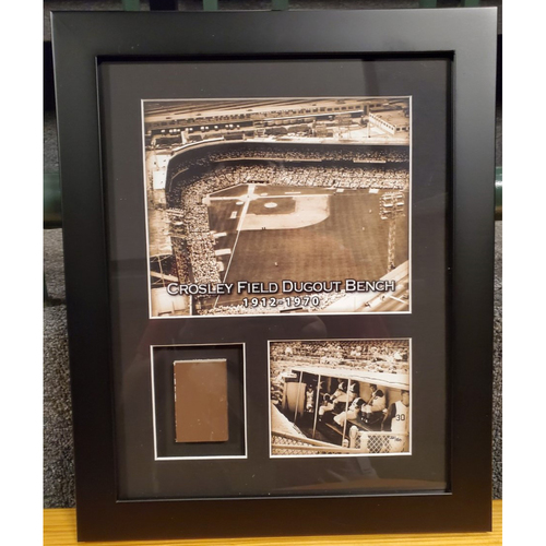 Photo of Framed Piece of Crosley Field Dugout Bench (Number 33 of 150)