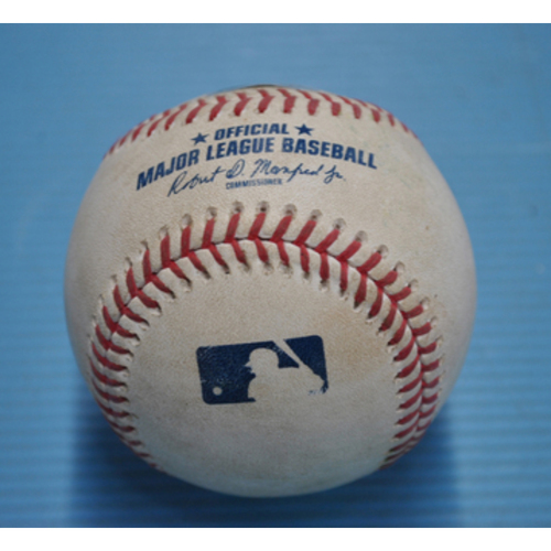 Photo of Game-Used Baseball - 2020 NLCS - Atlanta Braves vs. Los Angeles Dodgers - Game 2 - Pitcher - Josh Tomlin, Batter - Corey Seager (Double to Right Field) - Bot 9