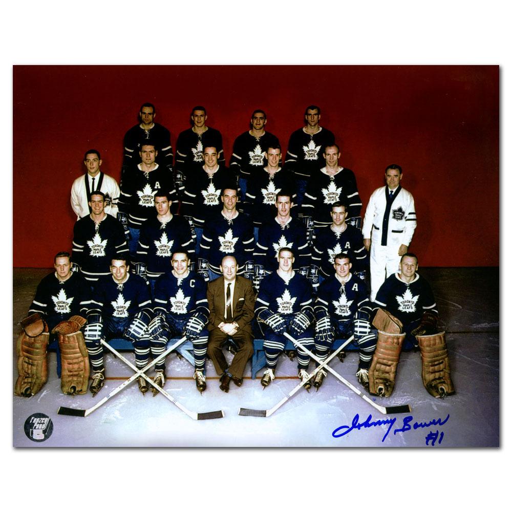 Johnny Bower Autographed Toronto Maple Leafs 1958-59 8X10 Team Photo