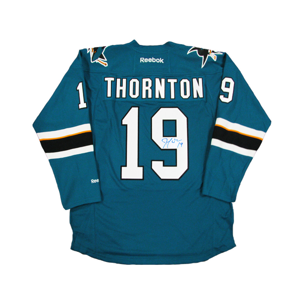 JOE THORNTON Signed San Jose Sharks Teal Reebok Jersey