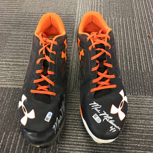 Photo of Mark Melancon 3x ALL-STAR - Autographed Cleats - Black and Orange (PAIR) - Size 14