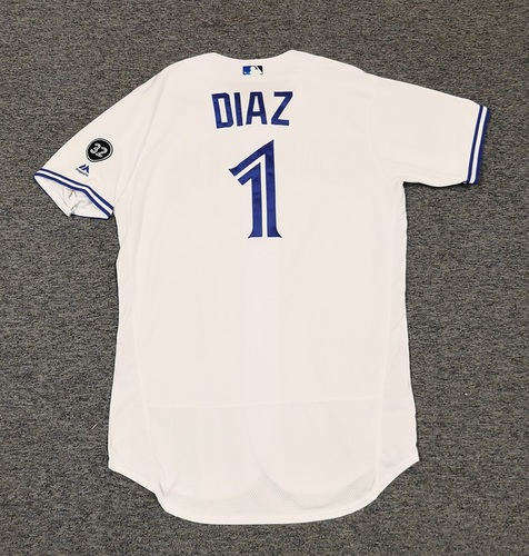 Photo of Authenticated Game Used Jersey - #1 Aledmys Diaz (June 5, 2018: 0-for-3). Size 46.