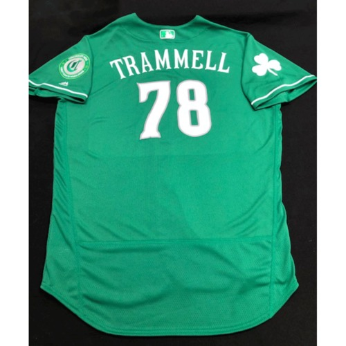 Photo of Taylor Trammell -- Game-Used Jersey -- 2019 St. Patrick's Day