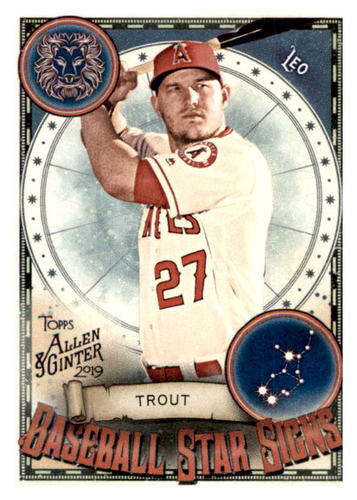 Photo of 2019 Topps Allen and Ginter Baseball Star Signs #BSS15 Mike Trout