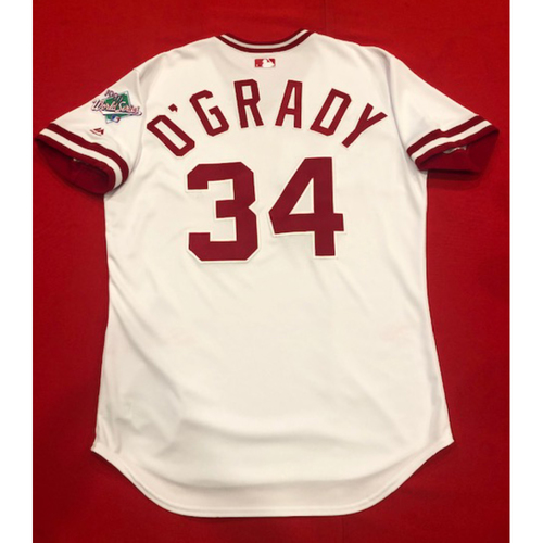 Photo of Brian O'Grady -- Team Issued 1990 Throwback Jersey (Pinch-Hitter) -- Cardinals vs. Reds on Aug. 18, 2019 -- Jersey Size 46