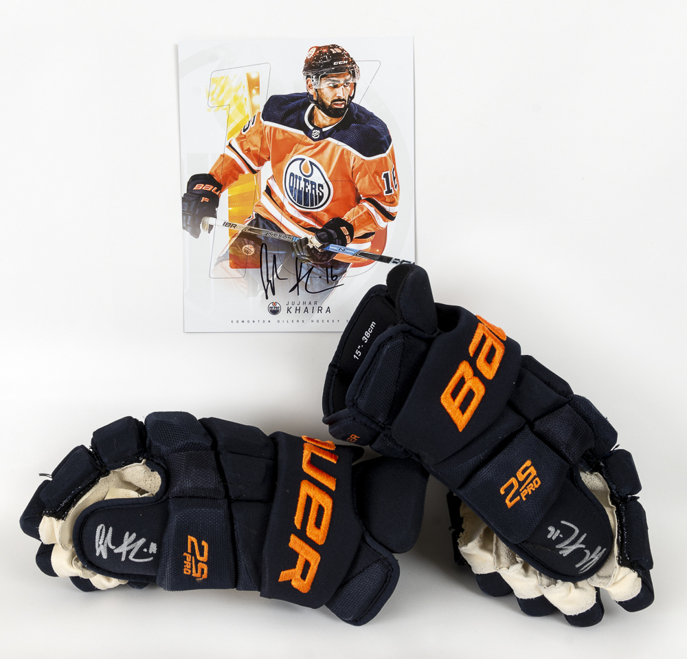Jujhar Khaira #16 - Autographed 2019-20 Edmonton Oilers Game-Worn Bauer Supreme 2S Pro Hockey Gloves - Includes Autographed Oversized Player Card!