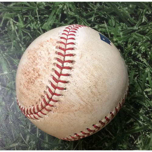 Photo of Game-Used Baseball CHC@MIL 09/06/19 - Cole Hamels - Christian Yelich: Single