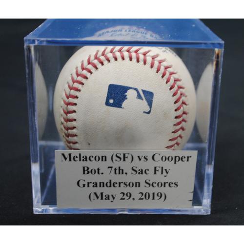 Photo of Game-Used Baseball: Mark Melancon (SF) vs Garrett Cooper, Bot. 7th, Sac Fly - Curtis Granderson Scores (May 29, 2019)