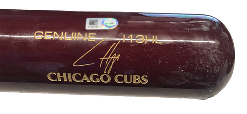 Photo of Ian Happ Game-Used Cracked Bat -- Michael Pineda to Ian Happ, Ground Out, Bot 1 -- Twins vs. Cubs -- 9/19/20
