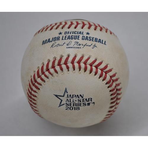 Photo of Game-Used Baseball - 2018 Japan All-Star Series - MLB All-Stars at NPB All-Stars - Bot 5 - Pitcher: Matt Andriese - Batter: Shogo Akiyama - Double to LF