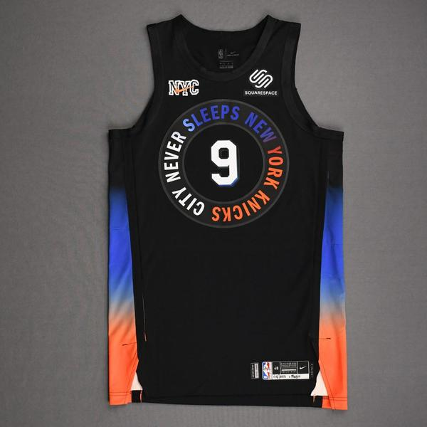 Image of RJ Barrett - New York Knicks - Game-Worn City Edition Jersey - Recorded a Double-Double - 2020-21 NBA Season