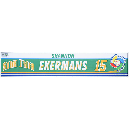 Photo of 2009 World Baseball Classic: Shannon Ekermans (RSA) Game-Used Locker Name Plate