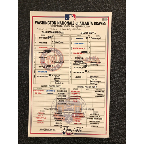 Photo of Game-Used Lineup Card - 9/20/17 - Nationals at Braves - Today Only $35!