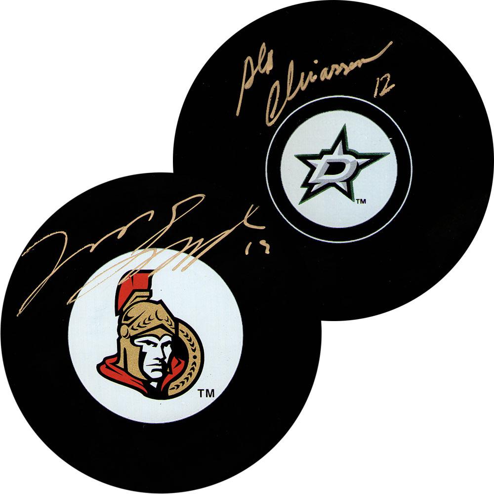 2014 NHL Off-Season Trade Autographed  Puck Combo - Jason Spezza & Alex Chiasson (Ottawa Senators, Dallas Stars)