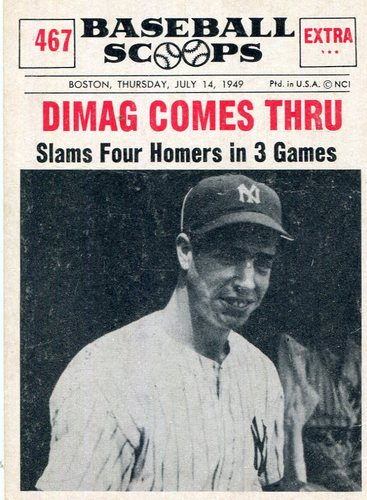 Photo of 1961 Nu-Card Scoops #467 Joe DiMaggio -- Hall of Fame Class of 1955