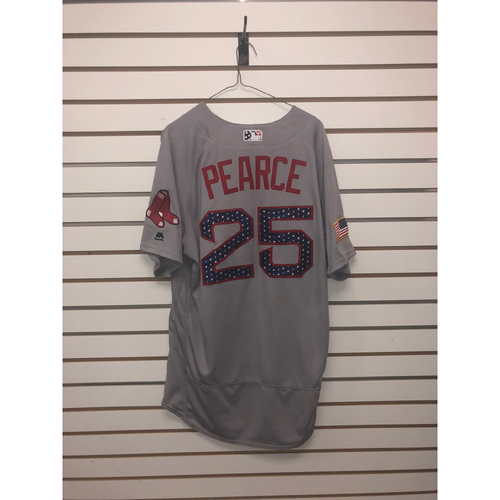 Photo of Steve Pearce Game-Used July 4, 2018 Stars and Stripes Road Jersey