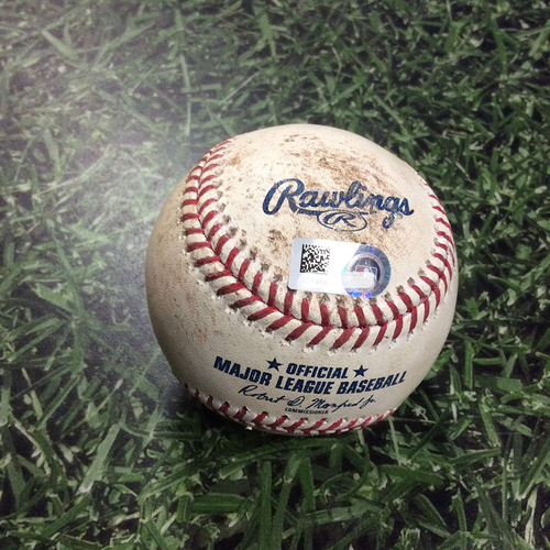 Photo of Game-Used Baseball WSH@MIL 07/25/18 - Freddy Peralta - Juan Soto: Ball