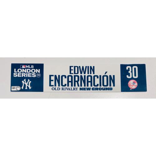 2019 London Series - Game Used Locker Tag - Edwin Encarnacion, New York Yankees vs Boston Red Sox - 6/30/2019