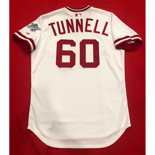 Photo of Lee Tunnell -- Game-Used 1990 Throwback Jersey & Pants -- Cardinals vs. Reds on Aug. 18, 2019 -- Jersey Size 46 / Pants Size: 35-40-16