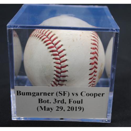 Photo of Game-Used Baseball: Madison Bumgarner (SF) vs Garrett Cooper, Bot. 3rd, Foul (May 29, 2019)