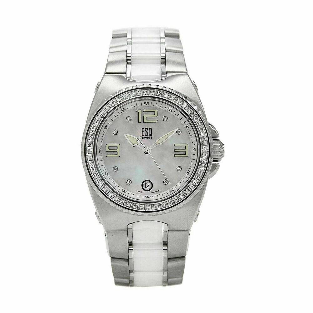 Photo of ESQ by Movado Women's Bali Diamond Accented SS & White Ceramic Watch