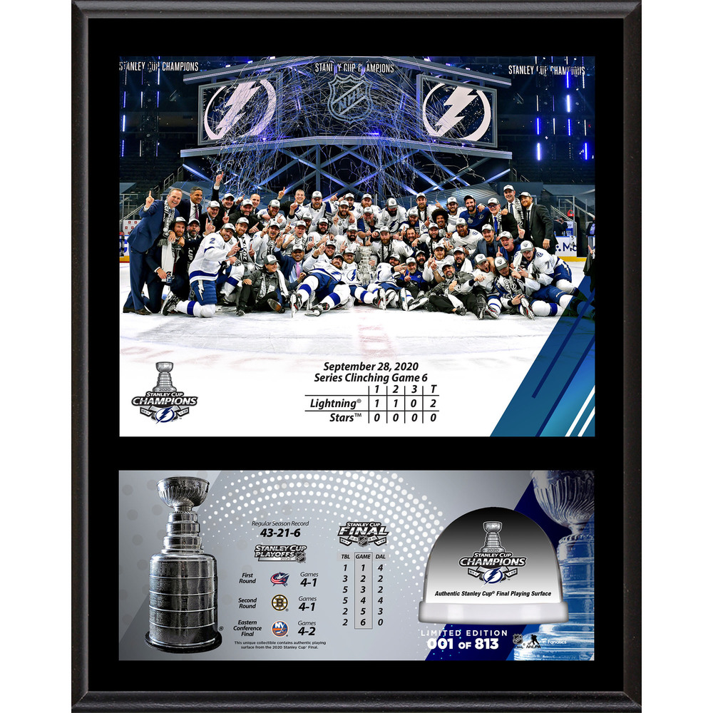 Tampa Bay Lightning 2020 Stanley Cup Champions 12'' x 15'' Sublimated Plaque with Game-Used Ice from the 2020 Stanley Cup Final - LE#1 of 813