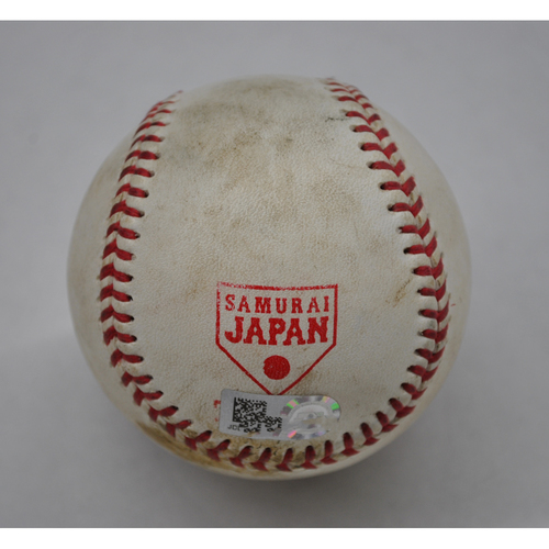 Photo of Game-Used Baseball - 2018 Japan All-Star Series - MLB All-Stars at NPB All-Stars - Top 7 - Pitcher: Rei Takahashi - Batters: Carlos Santana/Yadier Molina/Ronald Acuna - Flyout to CF/Single to CF/Foul