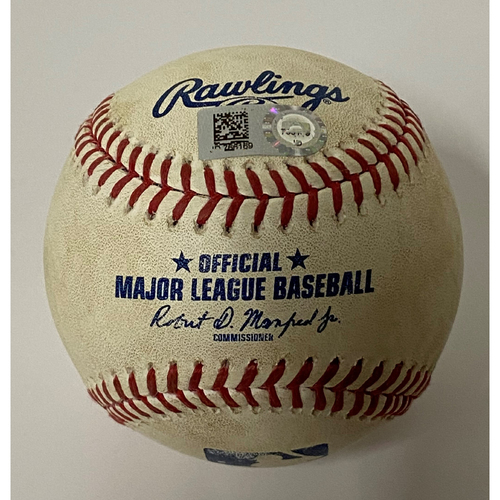 Photo of Game-Used Ball - Francisco Lindor Double - 7/26/2020