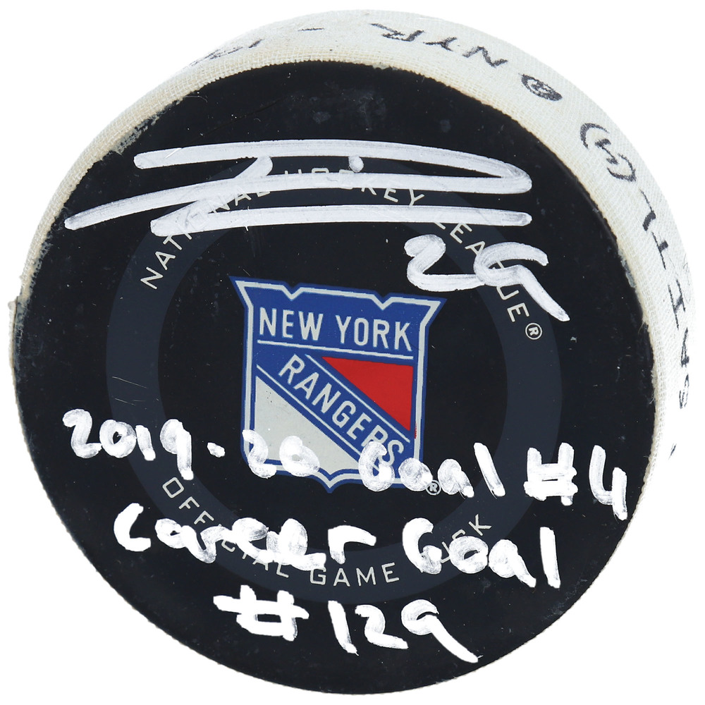 Leon Draisaitl Edmonton Oilers Autographed Game-Used Goal Puck from October 12, 2019 vs. New York Rangers with Multiple Inscriptions - Second of Two Goals Scored