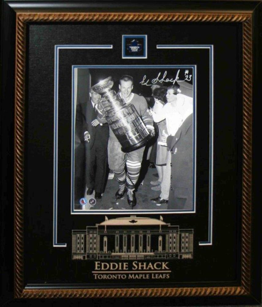 Eddie Shack Signed 8x10 Etched Mat Leafs W/Stanley Cup