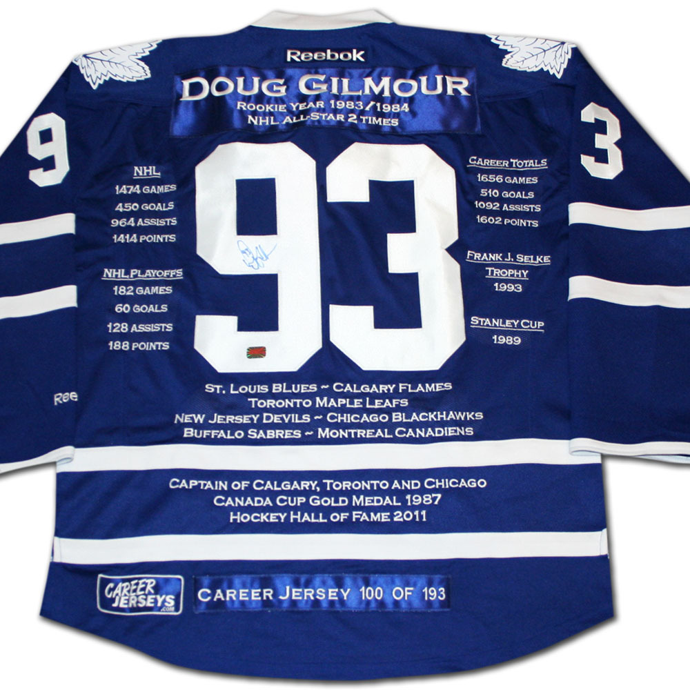 Doug Gilmour Autographed Career Stats Limited-Edition Toronto Maple Leafs Jersey - #100/193