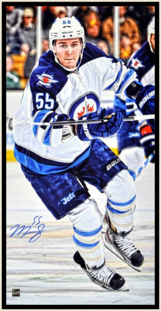 Scheifele Signed 14x28 Framed Canvas Jets White action
