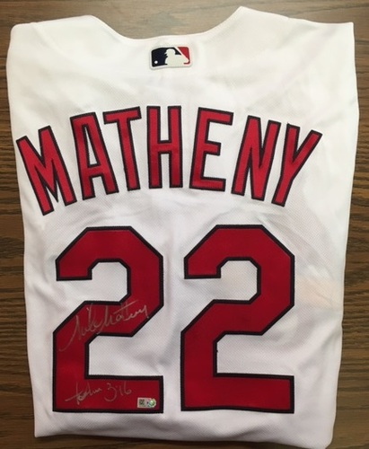 Photo of Mike Matheny Autographed Cardinals Authentic Jersey