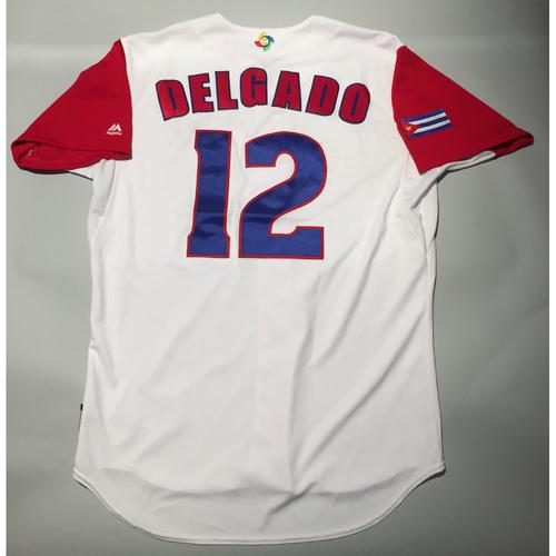 2017 WBC: Cuba Game-Used Home Jersey, Delgado #12